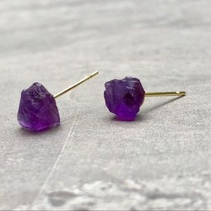 JUST ARRIVED!!! Raw Amethyst Crystal Stud Earrings
